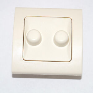 Doppel-Dimmer DUO-Dimmer 2x 20-150W cremeweiss Phasenanschnitt Drehdimmer