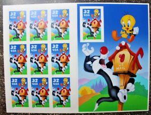 Stamp Sheet MNH Pane of 10 #3204 SYLVESTER TWEETY 1998 Looney Tunes Cartoon Cat