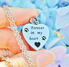 Pet Cremation Necklace Pendant Urn Paw Print Forever In My Heart Dog Cat Always