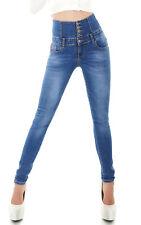 Sexy Women's high waist Skinny Slim Jeans stretch Denim trousers Blue