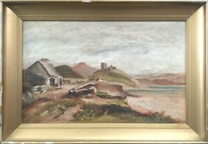 19th Century Irish School Oil on Canvas Landscape Painting.