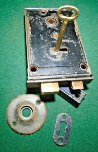 VINTAGE CIRCA 1880 RIM LOCK COMPLETE w/KEY & KEEPER & ESCUTCHEONS:  (15210)