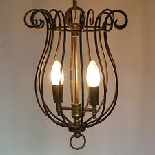 ANTIQUE WROUGHT IRON & BRASS CAGE HANGING PENDANT CEILING LIGHT LAMP CHANDELIER
