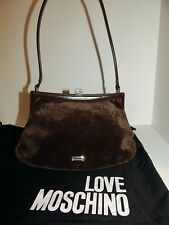Moschino Italy Brown Linen Velour Leather Shoulder Bag Italy