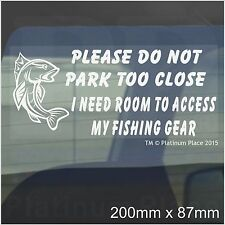 I Need Room To Access My Fishing Gear-Car Window Sticker-Fun Fish Rod Box Sign