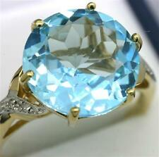Natural 8.0ct Blue Topaz & Diamond 9K 9ct 375 Solid Gold Ring - Full Solid Gold