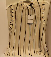 Women's Who What Wear Top Blouse Cream Black Striped Sheer Ruffle Trim Large NWT