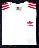 Adidas Originals Mens Trefoil California Tees Crew Neck T Shirt Maroon White Red