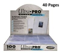 ULTRA PRO SILVER SERIES 9 POCKET AFL POKEMON TRADING CARD SLEEVES 40 PAGES