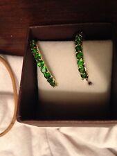 deep chromium diopside hoop  3.00cts earrings Value $500.00  34 stones