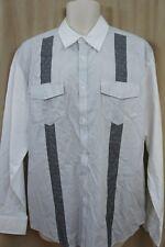 Cubavera Mens Casual Shirt  Sz L Jet Black White Striped La Moda Button Down