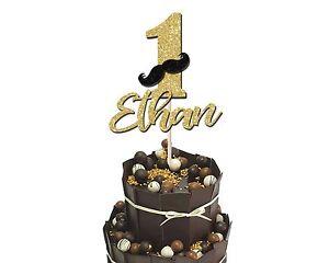 NIMBER ONE CUSTOM NAME 1ST BIRTHDAY GLITTER CAKE TOPPER BOYS 1ST CAKE SMASH PROP