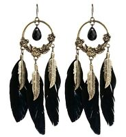 Dream catcher style bronze leaf, black feather and wreath chandelier earrings
