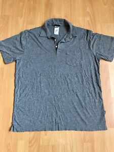 Patagonia Mens Large Polo Short Sleeve Shirt w/Pocket  Gray 100% Organic Cotton