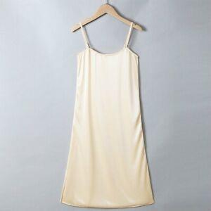 Ladies Satin Strappy Dress Full Slip Chemise Faux Silk Petticoat Slim Underskirt