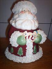 Spaghetti trim Santa Claus ceramic Cookie Jar Figure holding cookies trees NEW
