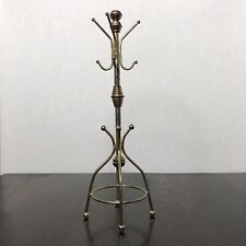 "Vintage Metal 12 "" Jewelry Hall Tree Brass Tone Coat Rack Necklace Holder Hanger"