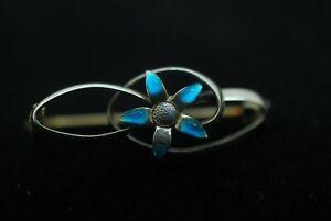 Charles Horner Sterling Silver Enamel Flower Brooch