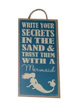 Write Your Secrets in The Sand & Trust Them With A Mermaid Wood Wall Plaque Sign