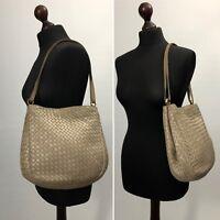 Authentic BOTTEGA VENETA Intrecciato Tan Leather Shoulder Tote Bag Handbag