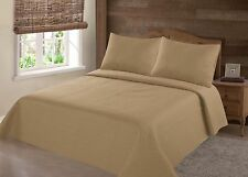 Nena Gold Solid Hypoallergenic Quilt Bedspread Bed Bedding Coverlets Cover