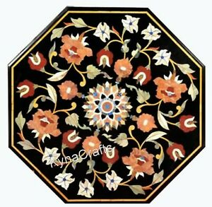 16 Inch Marble Bed Side Table Floral Patter Coffee Table Top for Home Area Decor