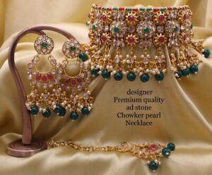Indian Bollywood Style CZ AD Wedding Fashion Jewelry Choker Necklace Tikka Setss