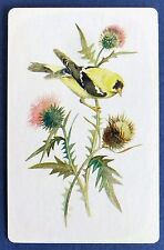VINTAGE SWAP CARD. BIRD ON THISTLE FLOWERS. AMERICAN EASTERN GOLDFINCH. STARDUST