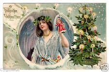 POSTCARD GERMAN CHRISTMAS ANGEL HOLDS DOLL1906 EMBOSSED