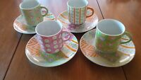 Patchwork by Taste Setters Collection Set of 4 Tea Cups and Saucers