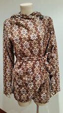Womens Thin Fleece Jacket Brown Patterned Ladies Size M / L Wrap Style NWT NEW