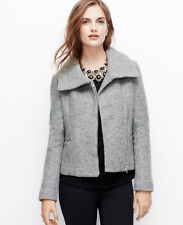 NWT Ann Taylor Grey Wool Blend Zip-Up Moto Motorcycle Jacket XS Extra Small