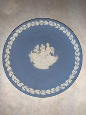 Wedgwood Jasperware Blue Skaters Christmas Plate 1990