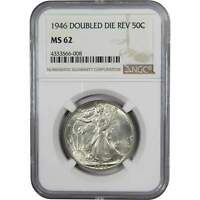 1946 Double Die Reverse 50c Liberty Walking Silver Half Dollar US Coin MS 62 NGC