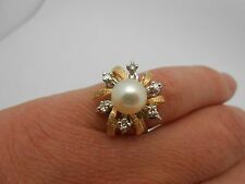 Vintage 14k Solid Gold Natural Diamond & Cultured Pearl Cocktail Ring Size 7