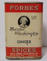Vintage 1930s MARTHA WASHINGTON DEER GRAPHIC SPICE TIN FORBES COFFEE ST. LOUIS