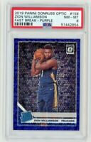 2019 Panini Donruss Optic #158 Zion Williamson Fast Break Purple RC /95 PSA 8