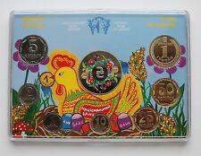 CHILDREN DRAWING SET 7 coins & Token Box 2014 Official NATIONAL BANK of Ukraine