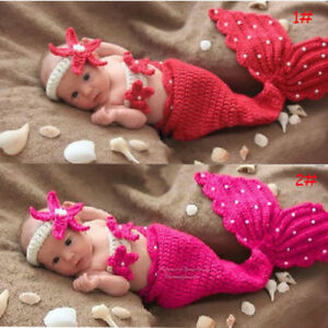 Newborn Baby Girls Costume Mermaid Crochet Outfits Photography Photo Props New