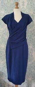 Reiss Livia Royal Blue Ruched Draped Short Sleeve Bodycon Pencil Dress UK12