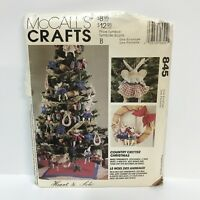Uncut McCall's Crafts Pattern 845 Country Critter Christmas Ornaments Stockings