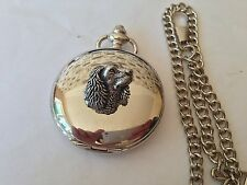 A24 Sm Spaniel's Head   polished silver case mens GIFT quartz pocket watch fob
