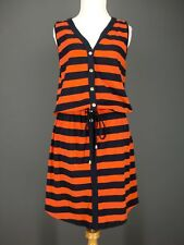 JONES NEW YORK Dress S Blue Stripes Orange Cotton Knit MACY'S