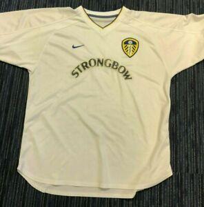 Leeds United Shirt Mens LUFC Shield Badge Logo White Strongbow 1990s NIKE