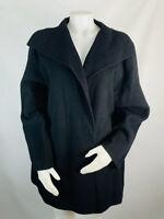 Eileen Fisher XL Womens Black Wool/Cashmere FELTED FLEECE Coat Jacket Open Front