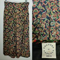 Vintage Country Casual Women Long Skirt A line Nlack Floral Geo Print Blogger 10