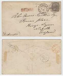 """BC INDIA 1865 Sc 16 ON COVER """"GHAZEEABAD"""" & NUMERAL """"202"""" TO NORFOLK, ENGLAND"""