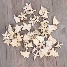 50Pcs Wood Snowflake Xmas Wedding Tree Hanging Pendant Ornament Christmas Decor