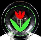 "KOSTA BODA GLASS ULRICA HYDMAN VALLIEN SIGNED STRIPES RED TULIP MOTIF 7.5"" PLATE"