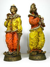 Vintage Universal Statuary Co. Large Clown Statue 1966 Pair